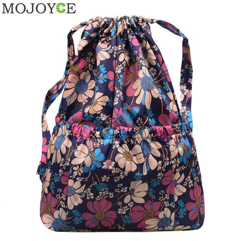 6ef8e2612647 Women Flowers Printed Backpack Fashion Brand Drawstring Backpacks for  Teenager Girls Shoulder Bag Travel Rucksack Storage Bags
