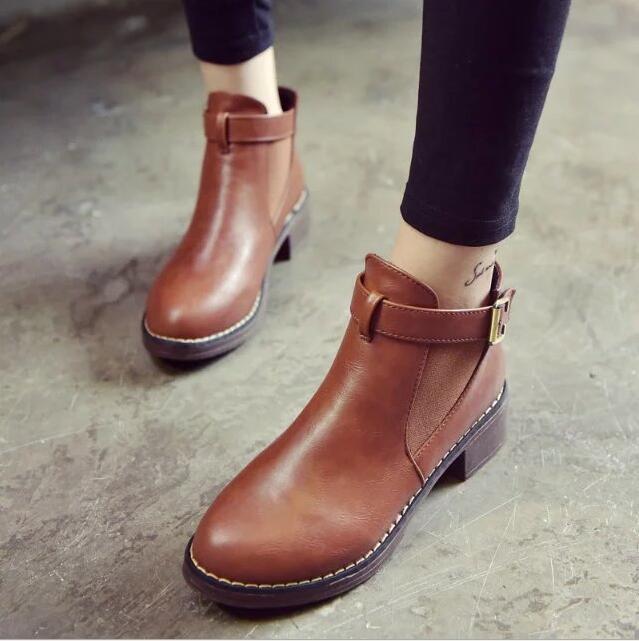 New Autumn Winter Women Boots Soft Leather Female Side Zipper Martin Boots Vintage Fashion Ankle Boots