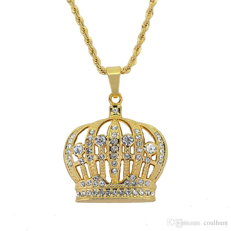0b638ad863bca Hip Hop King Crown Pendants Necklace Iced Out Rhinestone Women Necklace  2018 New Arrived King of Crown pendant necklaces