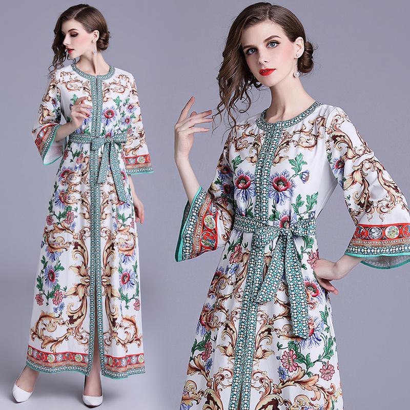 4ec5b84e63b Autumn Dress with Floral Print Flare Sleeve Waist Tie Loose Elegant ...
