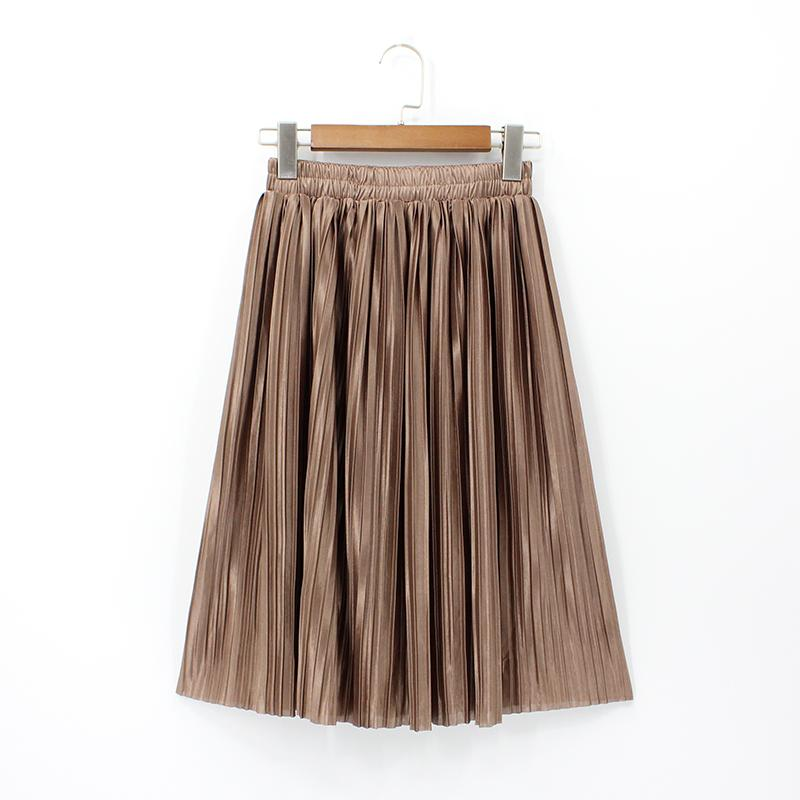 893fd32c147 2019 2018 Women Korean Style High Waist Elastic Plus Size Solid Color Knee  Length Metallic Pleated Skirts Sexy Vintage Saia Midi From Buttonhole