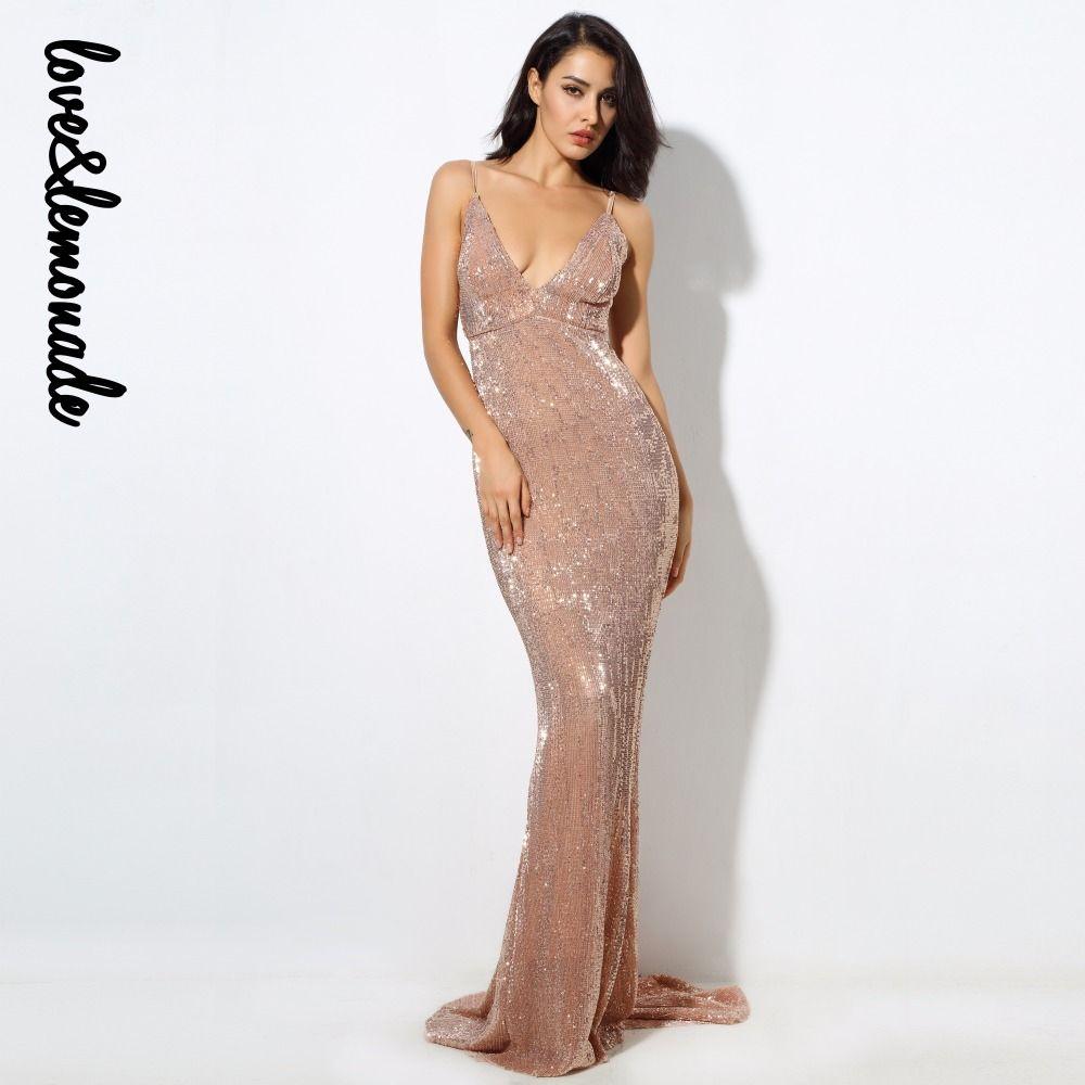 f64407c438fbb Satın Al Lovelemonade Seksi Şampanya Elastik Pullu V Yaka Exposed Geri Maxi  Elbise Lm0233, $62.6   Dhgate.Com'da