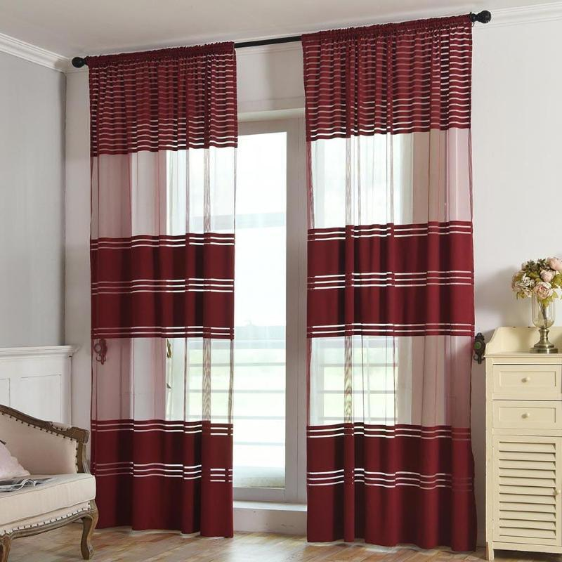 Elegant Black White Polyester Cloth Modern Simple Striped Bedroom Sheer  Window Curtains for Living Room String Tulle Curtain