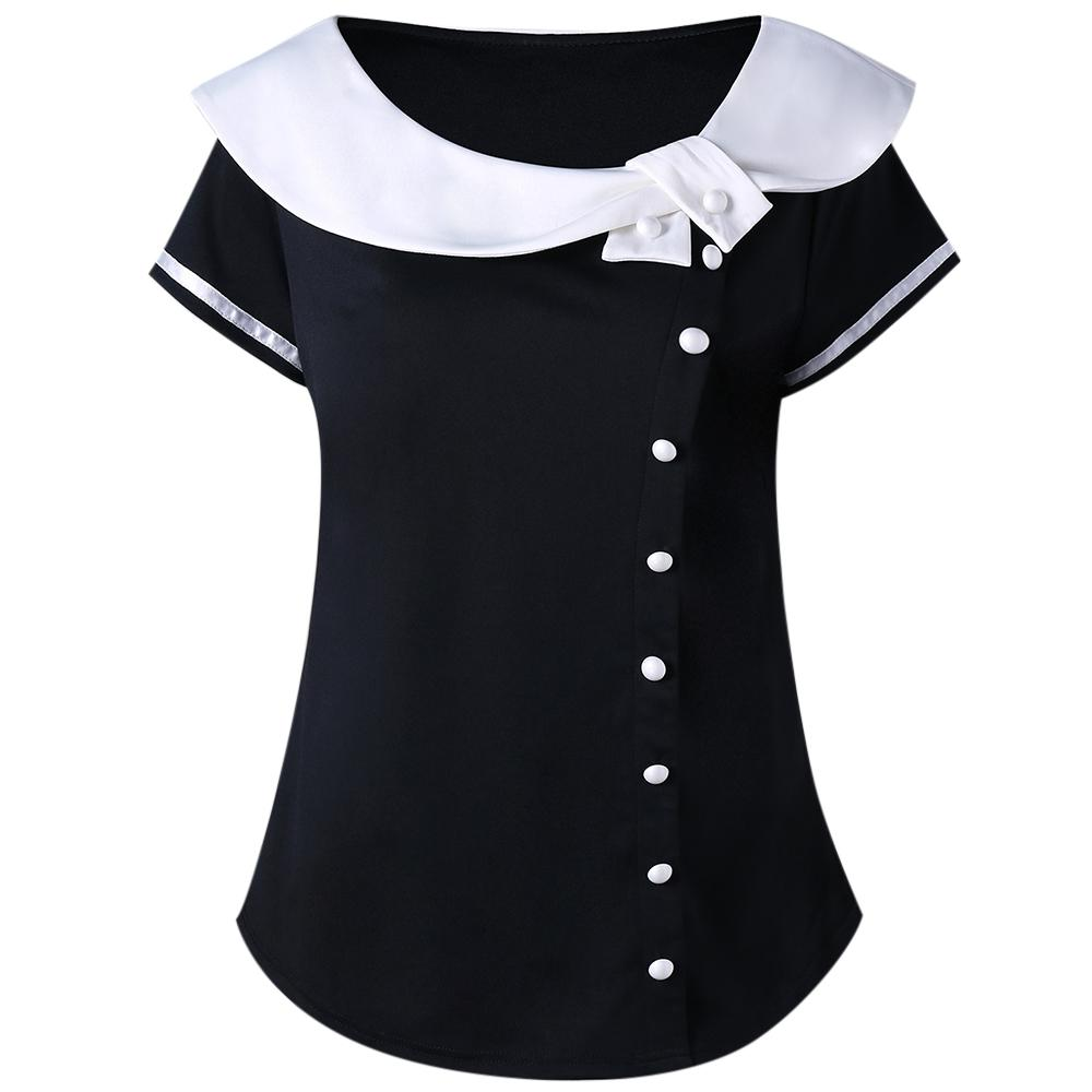72f74722586f Wipalo Plus Size Buttons Peter Pan Collar T Shirt Lolita Women T Shirt  Summer Ladies Tops 2018 Casual Short Sleeve T Shirts 5XL Tee Shirts Funny Tee  Shirt ...