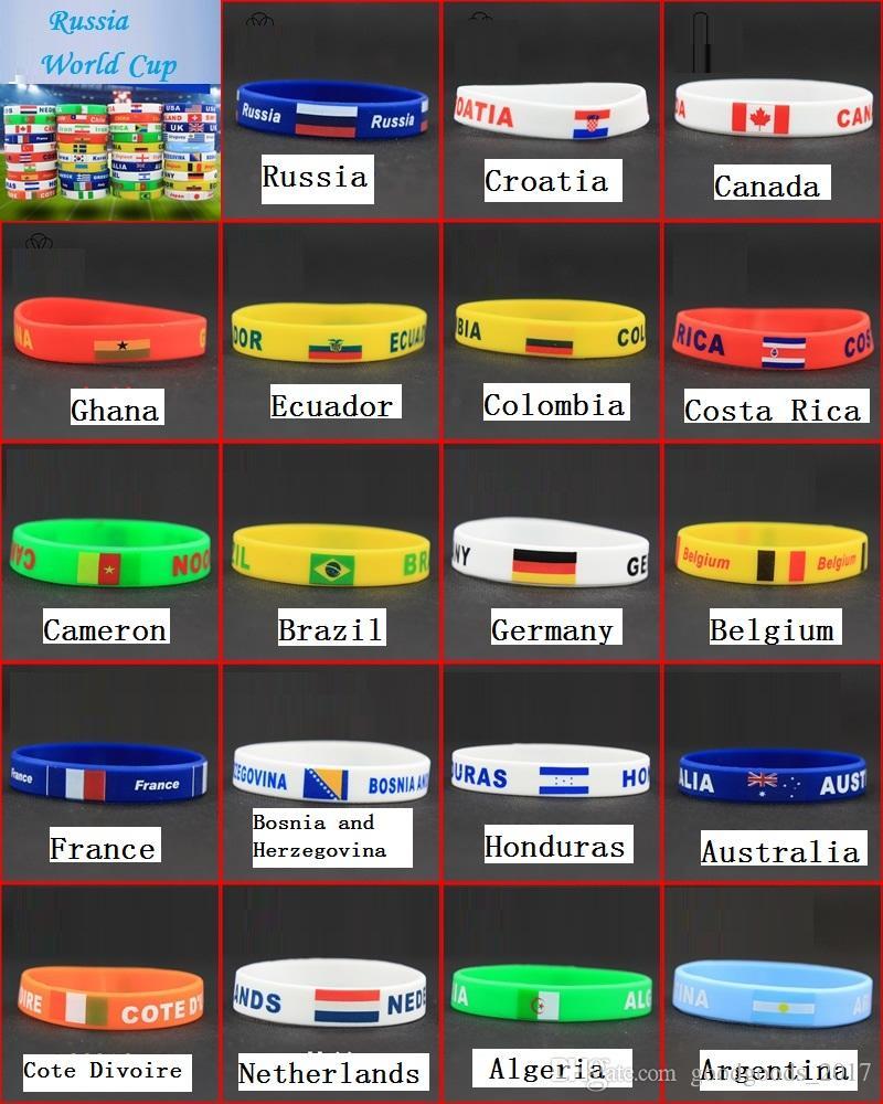 Dünya Kupası Silikon Bayraklar Bilezik El Yüzük bilek kayışı Dünya Kupası Bayrakları ülkeler bayrağı Bilezik Bayrak Futbol atmosferi Artırmak MK273