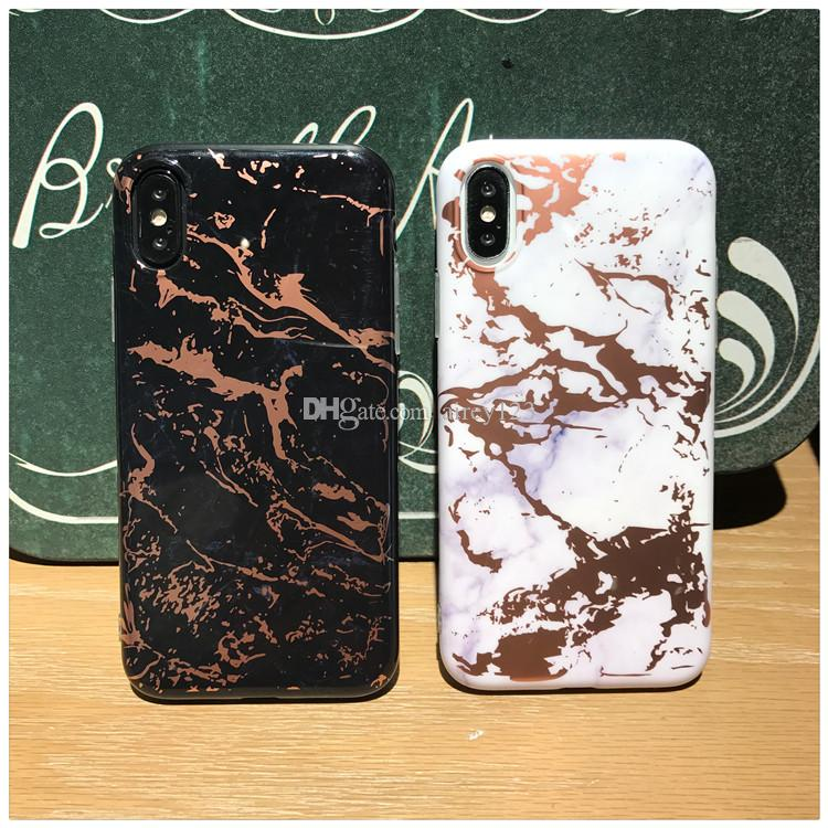 Luxury Plated Back Cover TPU Shell Phone Rose Gold Chrome Marble Stone Case for iPhone XS Max XR 6 6S 7 8 Plus