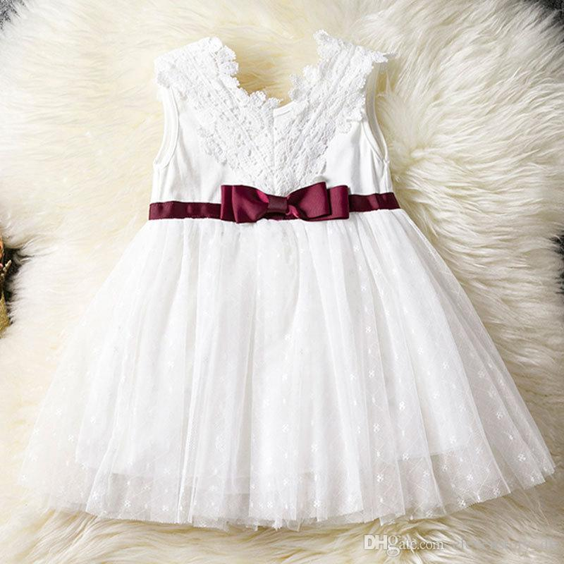 Lace flowers Girls dress summer bow clothing kids party/wedding tutu baby Sleeveless clothes, R1AA802DS-08, [ElevenStory_dh]