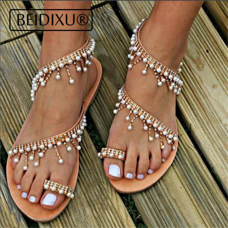b9136e29f78a ... Toe Beach Flat Sandals 2018 Fashion Summer Pearl Leather Handmade Chic  Sandals Flip Flop White Wedges Cheap Shoes For Women From Aiyin