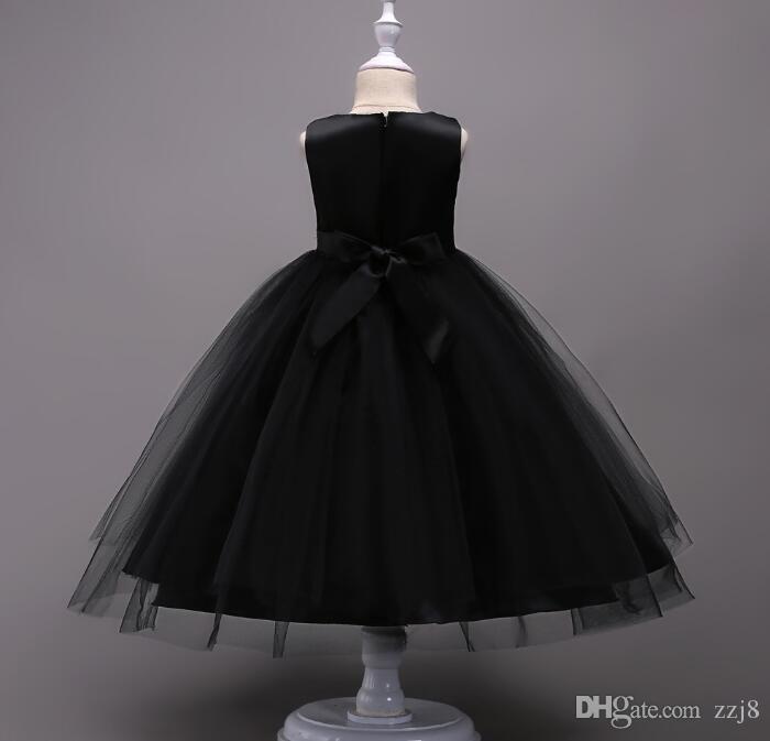 Ricamo Bambini Abiti da sposa 4-15 anni Flower Girls Formal Ball Gown Prom Dress Nero Blu Rosa Cinque colori