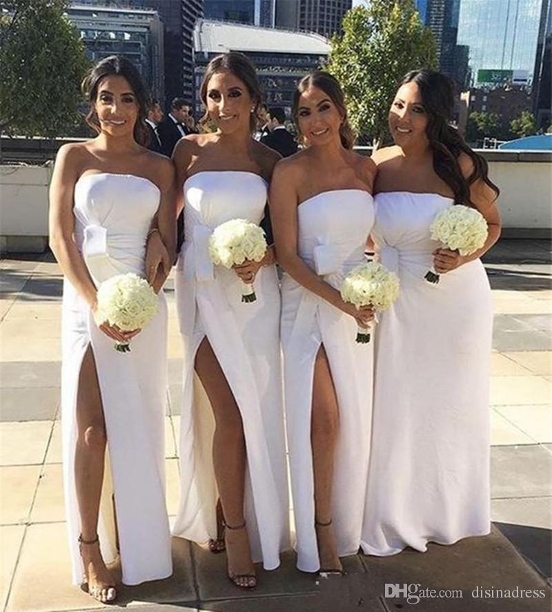 dc82b64e7d Elegant Strapless Sheath Split Bridesmaids Dresses Plus Size Simple Satin  Evening Gown Prom Dress Cheap Wedding Guest Dress With Bow Off The Rack  Bridesmaid ...