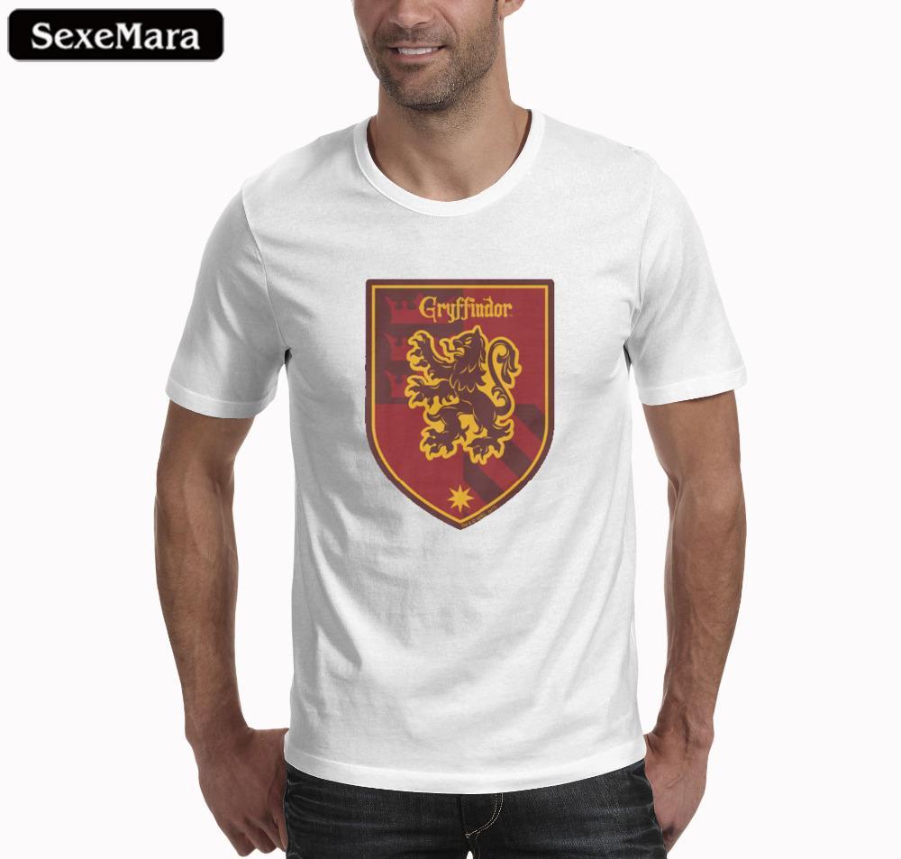 22b8004b Magic School T Shirt Four College Crest Design Gryffindor Ravenclaw  Hufflepuff Slytherin T Shirt Fashion Tshirt For Men Tee Tops Of T Shirts  Online Buy T ...