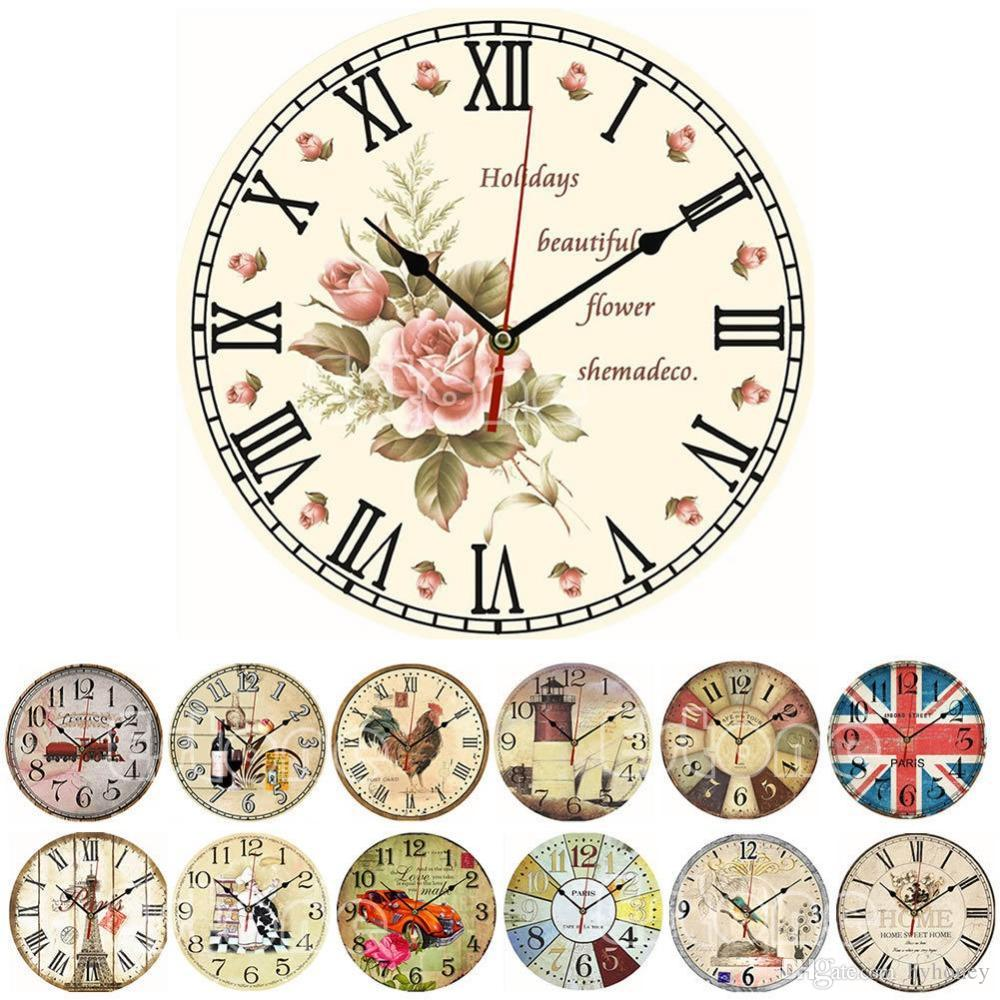 Wholesale Y142 New 2016 Vintage Wooden Wall Clock Large Shabby Chic ...