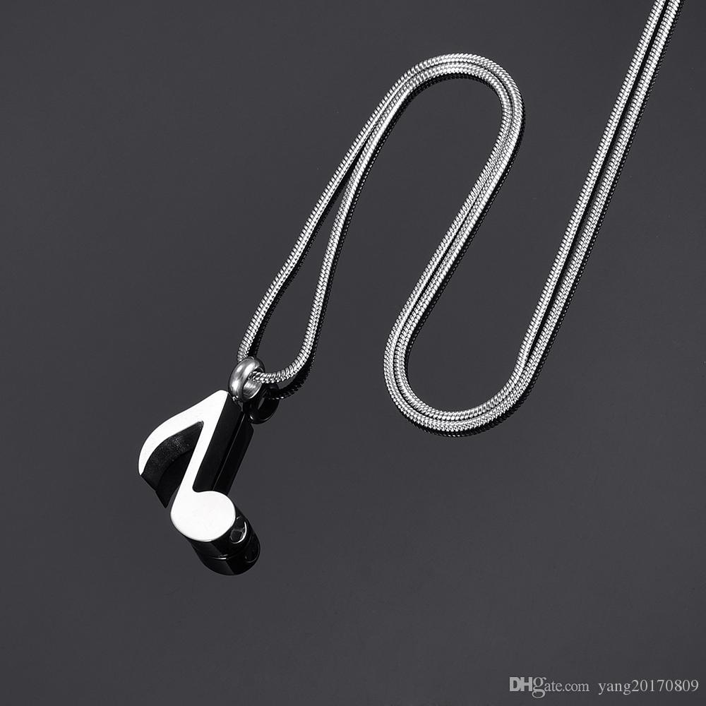 DJX9875 Highly Polished Music Note Cremation Jewelry Pendant 316L Stainless Steel Hold Funeral Ashes Keepsake Urn Necklace-Engravable