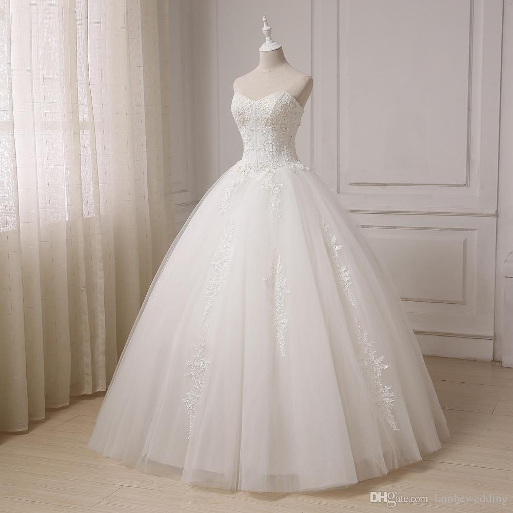 2018 New Real Photos Ivory Sweetheart Ball Gown Tulle Lace Appliques With Pearls Wedding Dress Floor Length Bridal Gowns vestido de noiva