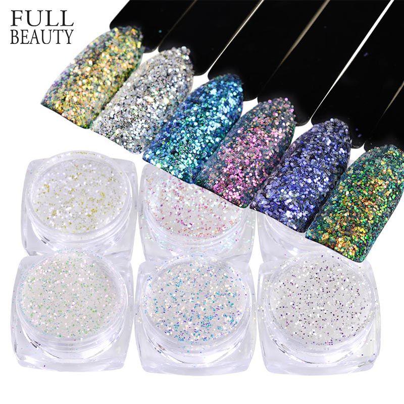 Full Beauty 1 Box Ab Unicorn Mermaid Nail Sequins 3d Glitter Flakes ...