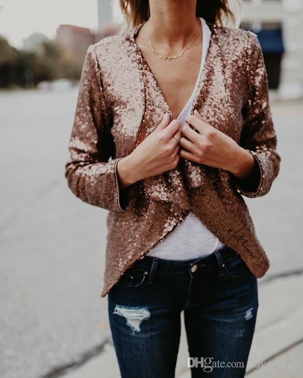 Gros-Nouvelles femmes or Sequin Vestes et manteaux à manches longues Cardigan Printemps Mode Party noir veste vêtements livraison gratuite