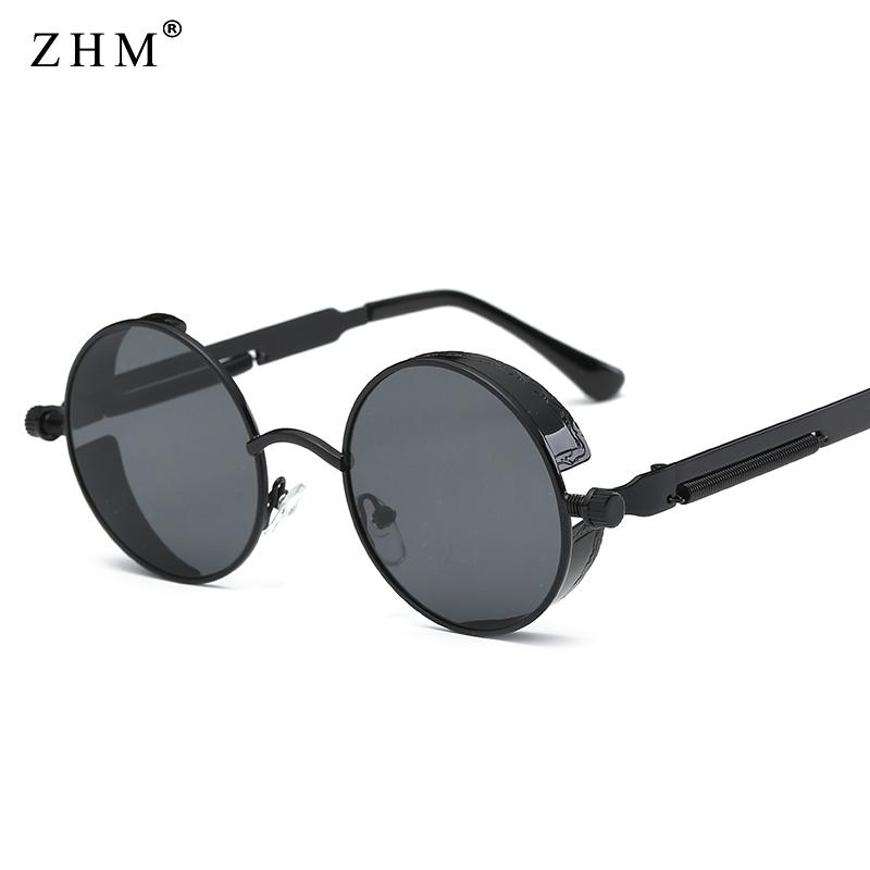83bcc6471cf Metal Round Steampunk Sunglasses Men Women Fashion Glasses Brand Designer  Retro Frame Vintage Sunglasses High Quality UV400 Glass Frames Online  Eyeglasses ...