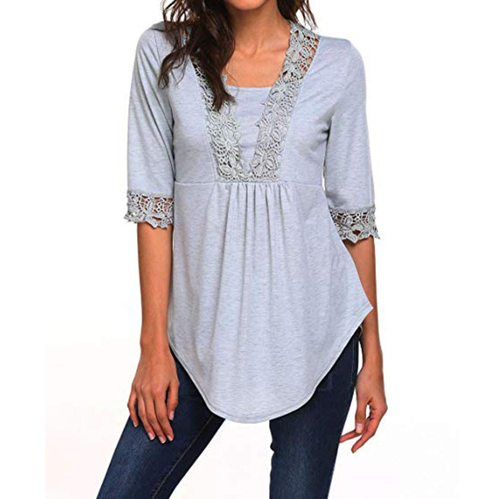 dc1e2a3a820552 2018 New Fashion Tops Womens T Shirt Casual Half Sleeve Laciness Tops O  Neck Casual Loose Daily T Shirt Tunic Ladies Shirts Comical T Shirts T Shirt  With ...