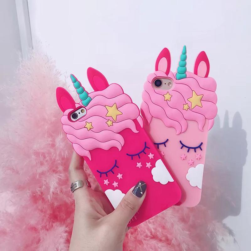 3D Einhorn Silikon Soft Case für iPhone XS MAX XR X 8 7 Plus 6 6S Lächeln Loverly niedlichen Cartoon-Handy-Abdeckung Einhorn Tier niedlich gemustert