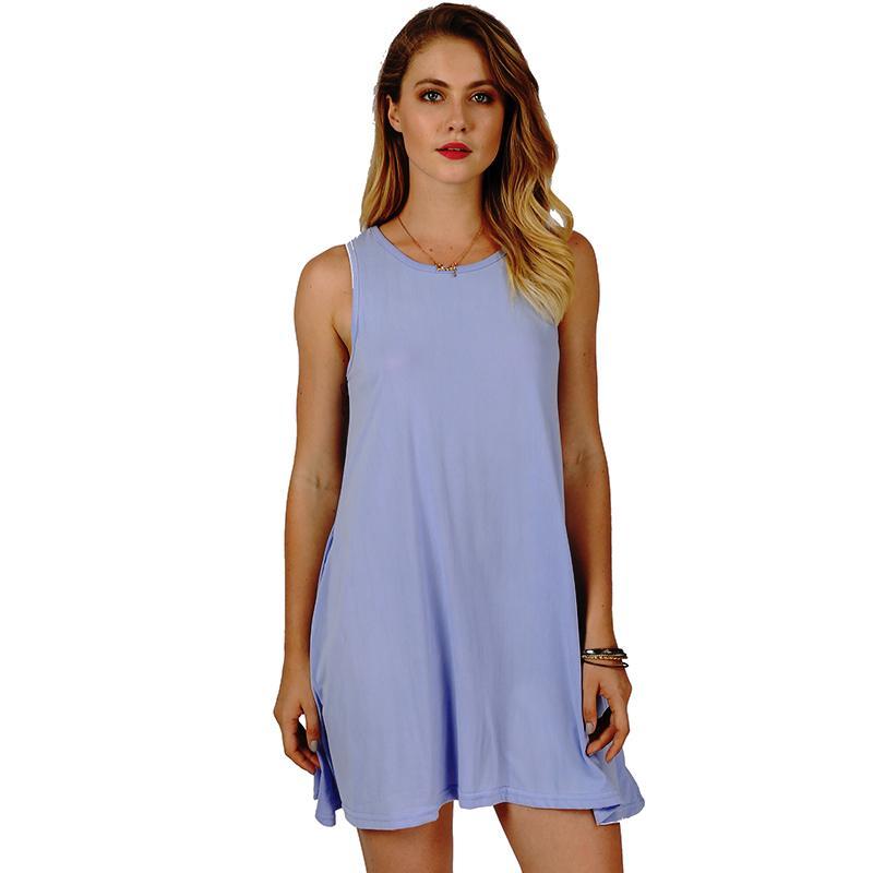 5beb68f664 Casual Women T Shirt Dress 2019 Solid Color O Neck Sleeveless Summer A Line  Mini Dress With Pocket Elegant Ladies Plain Sundress Black Women Dress  Cocktail ...