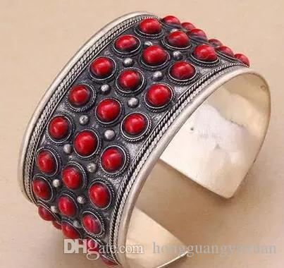Fashion Unisex Gift Jewelry Cuff Bracelet Round Red Coral Bead Tibet