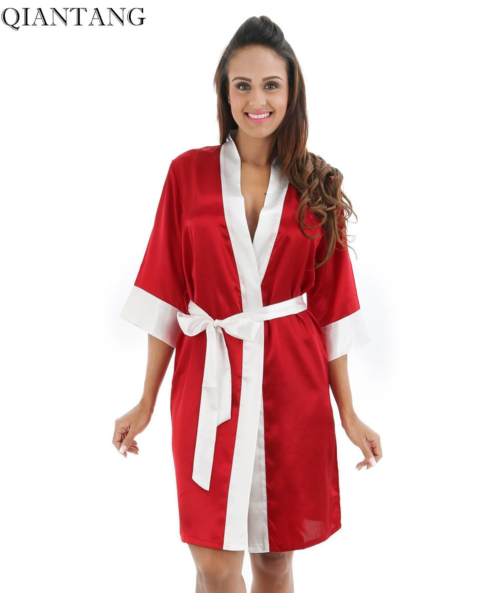 a4380841d2 2019 RED Womens Robe Hot Sale Faux Silk Kimono Bath Gown Female Sexy  Bathrobe Nightgown Mujer Pijama Size S M L XL XXL Zh05A From Movearound