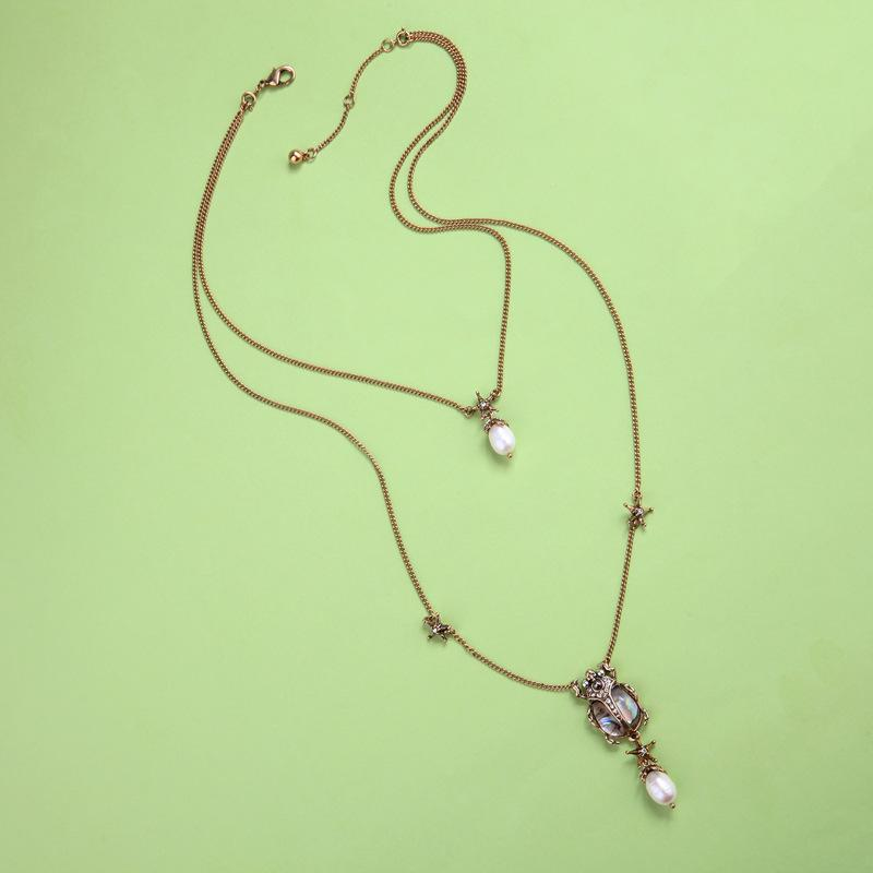 Antique Gold Fashion Women Smiple Choker Charm Necklace Vintage Chocker Retro Chain Necklace Pearl Opal Crystal Pendant Sweater Necklace