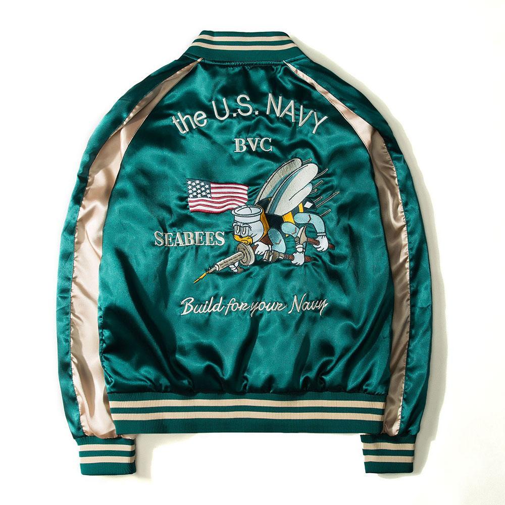 Luxury Brand Spring Harajuku Men's Baseball Jacket Patchwork Bomber Jacket Two Side Wear Coat Stand Collar Windbreaker M-3XL Size