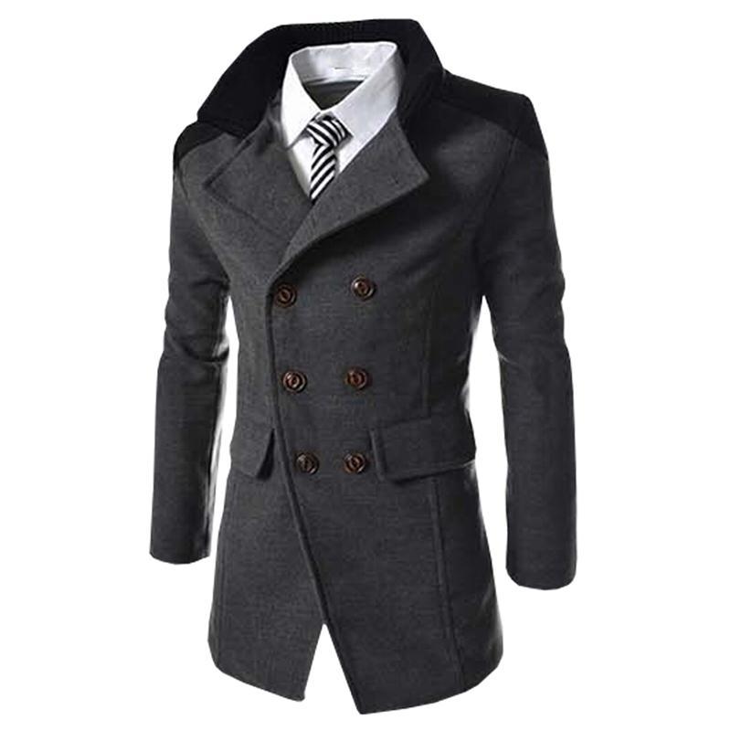 12bf7e34fe85 Hot Sale Autumn Long Wool Coat Men Fashion Turn-down Collar Wool Blend  Double Breasted Pea Coat Jacket Men Brand Overcoats