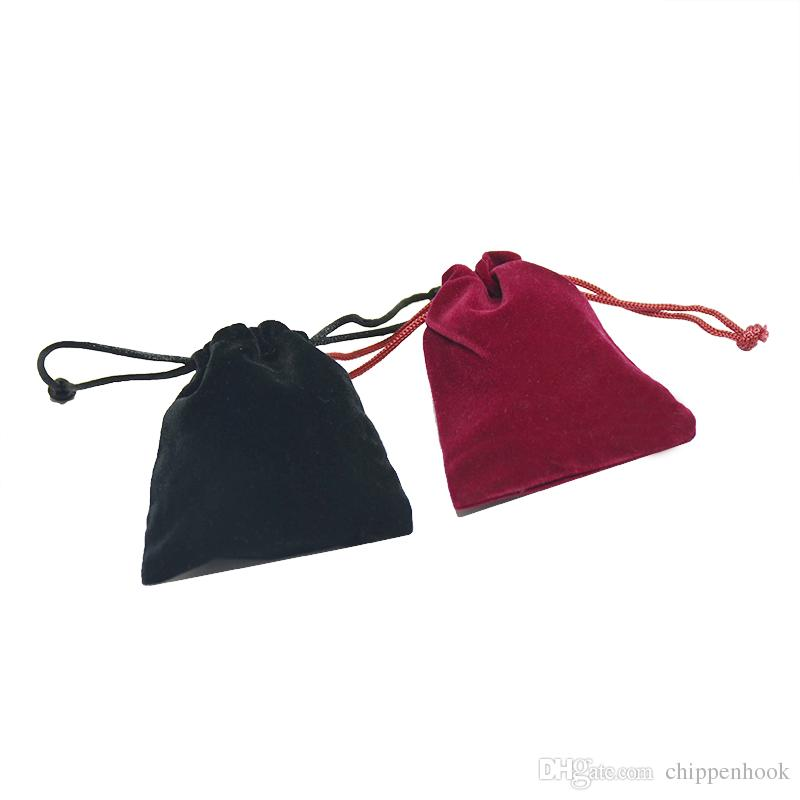 Wholesale Better Quality Velvet Jewelry Package Pouch Red Black Drawstring Present Birthday Party Organizer Storage Gift Bag 9.5*9.5 cm