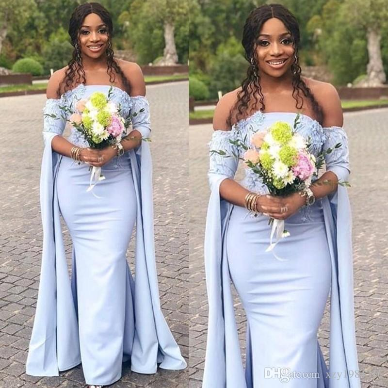 Glamorous Long Sleeve Bridesmaid Dresses Sexy Off Shoulder Lace Appliques Mermaid 2018 Prom Dress South African Wedding Guest Dresses