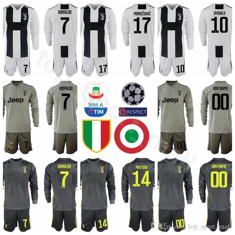 hot sale online 7a473 82e07 Juventus Long Sleeve 7 RONALDO Jersey 18 19 Season Soccer 17 MANDZUKIC 10  DYBALA 14 MATUIDI 19 BONUCCI Football Shirt Kits Unifrom