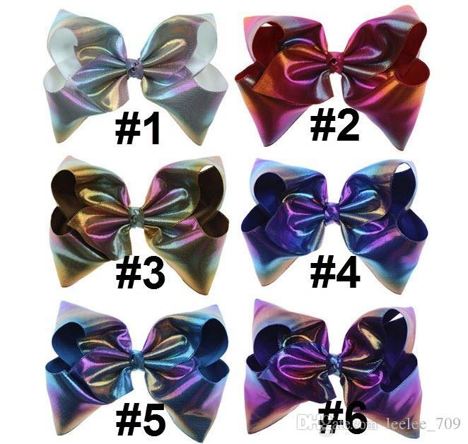 8 Inch Laser Rainbow Ombre Leather Large Hair Bow On Clip Teens Kid Girl New Design Jumbo Hair Clip