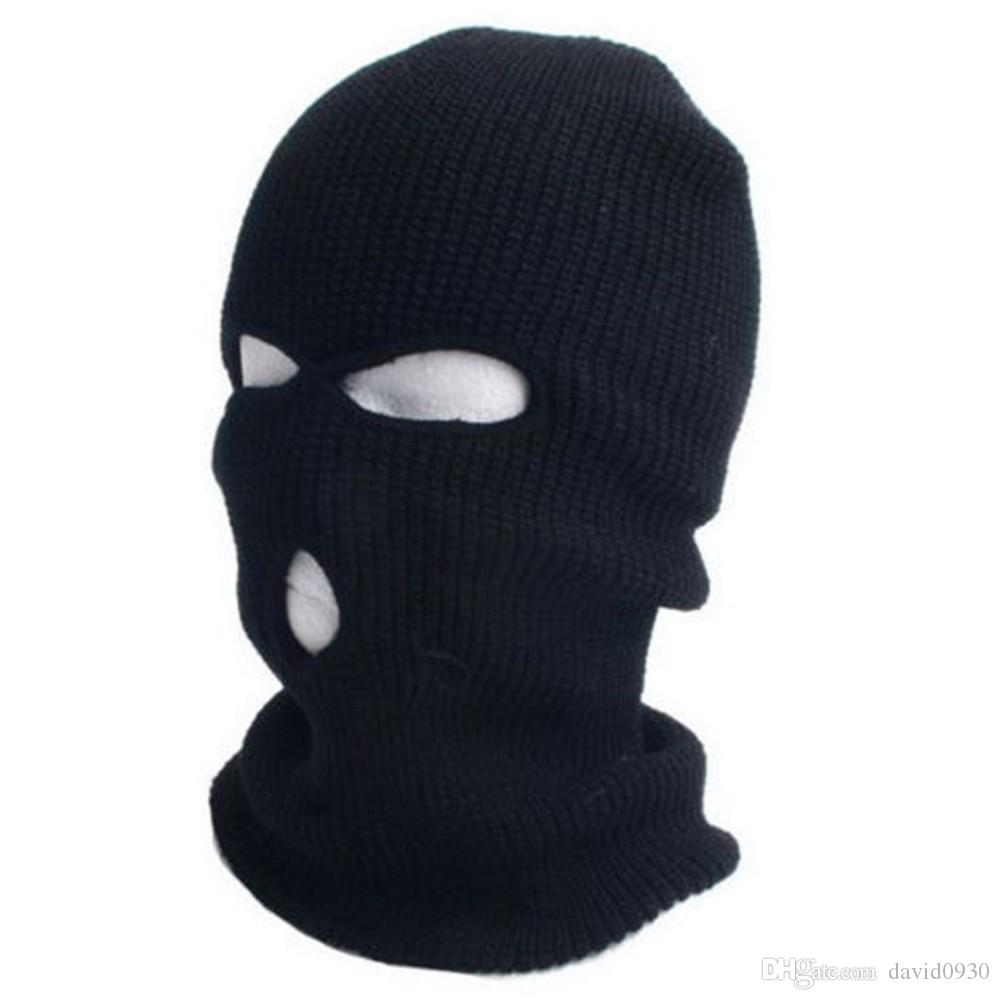 2019 New Full Ski Mask Three 3 Hole Balaclava Knit Hat Winter Snow Beanie  Stretch Cap From David0930 e85d7a44d53a