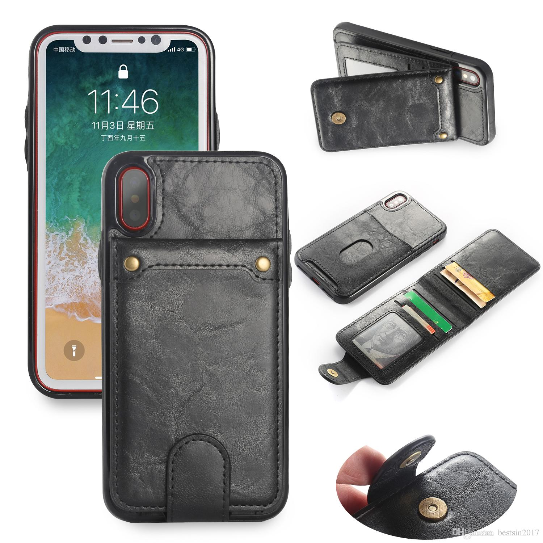 Vertical Flip Case en cuir pour iPhone X 7 Plus Retro Cover Case pour iPhone 8 Plus Wallet Titulaire de la carte 2 en 1 pochette