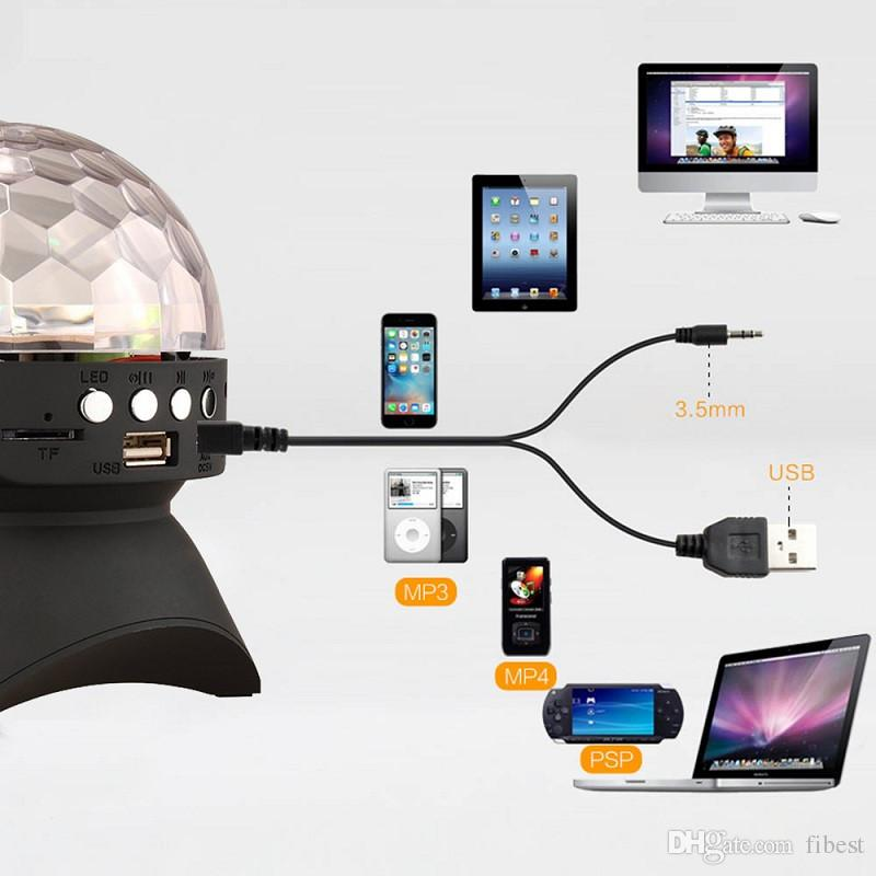 Altoparlante Bluetooth LED Crystal Magic Ball Stage Light RGB DJ Club Bar Party Lighting Colorful Mini altoparlanti portatili con USB TF Radio FM