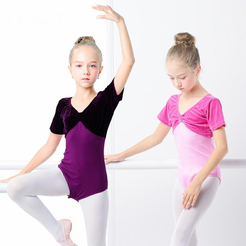 aa26497b9 2019 Short Long Sleeve Ballet Gymnastics Leotards Girl Warm Bodysuit ...