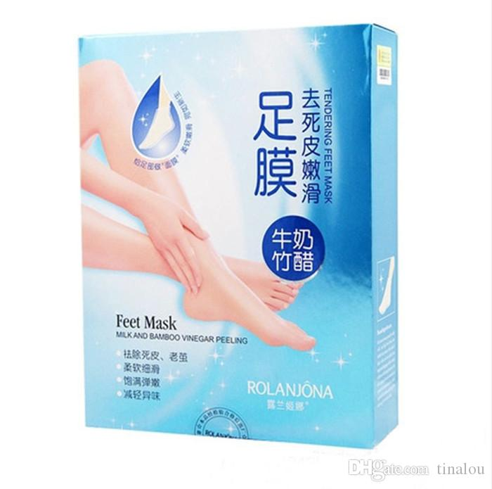Уход за ногами Rolanjona Milk Бамбуковая уксусная маска для ног Пилинг отшелушивающий омертвевшую кожу Удалить профессиональную маску для ног sox Уход за ногами