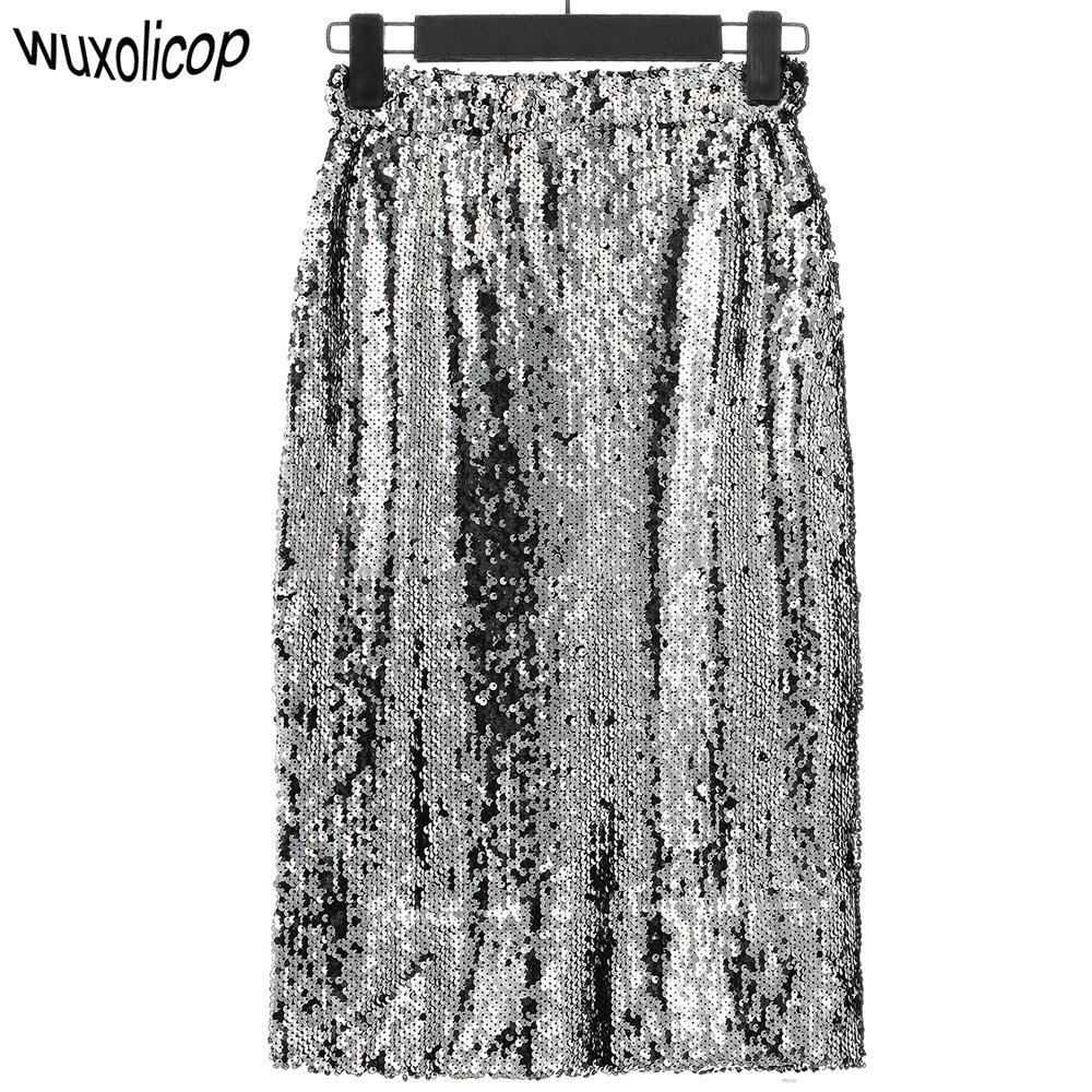 0faa3444085d 2019 Shiny Stretchy High Waist Gold Black Silver Women Sequin Pencil Skirt  Jupe Falda Saia Long Sexy Club Party Bodycon Midi Skirt S916 From Ruiqi02,  ...