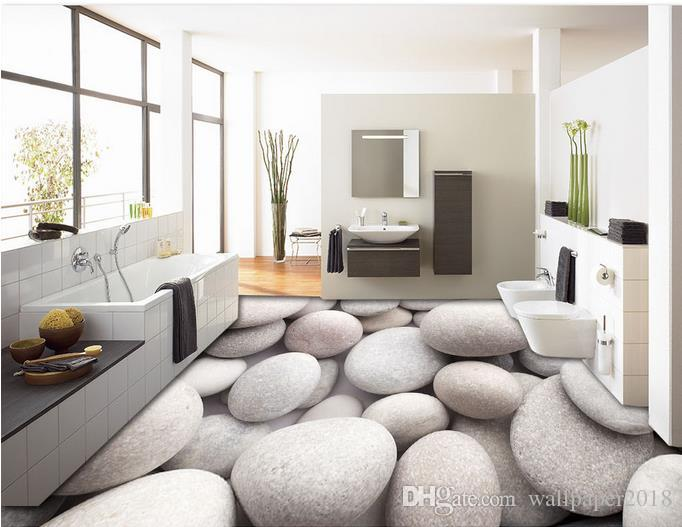 3d flooring for living room and bedroom Three-dimensional white pebble floor tile decorative painting wallpaper for walls