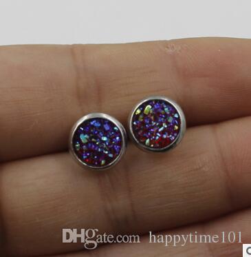 Moda 8 mm Druzy aretes de resina de acero inoxidable Drusy Dome sellos Cabochon Stud pendientes para joyería de las mujeres