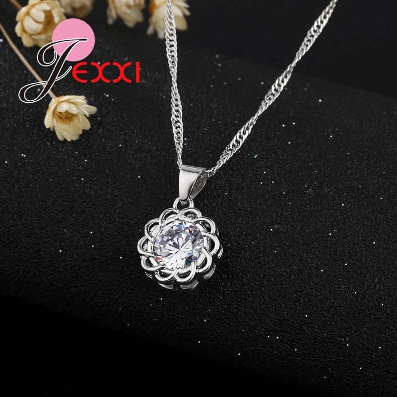 JEXXI Charme Sunflower Damenmode Silber Schmuck Set mit S925 Stempel Shiny CZ Kristall Blume Halskette Ohrringe Pin