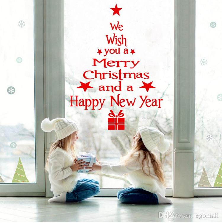 Merry Christmas Wall Sticker Window Stickers Christmas Ornaments 2018 Christmas Decor for Home New Year 2019 Navidad