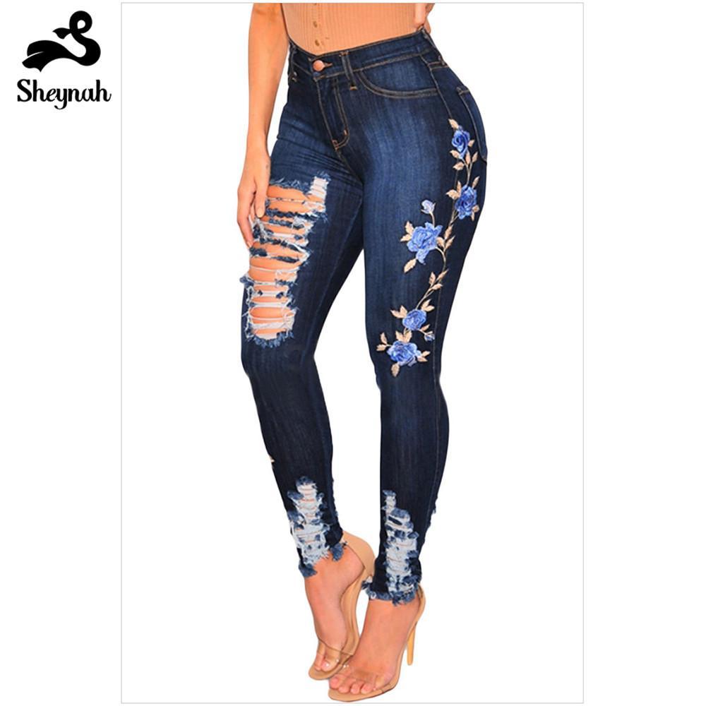 bien connu grande sélection Vente chaude 2019 Grande Taille Broderie Skinny Denim Jeans Taille Haute Slim Bodycon  Pantalon Haute Élastique Ripped Hole Jeans Plus La Taille Casual Bas