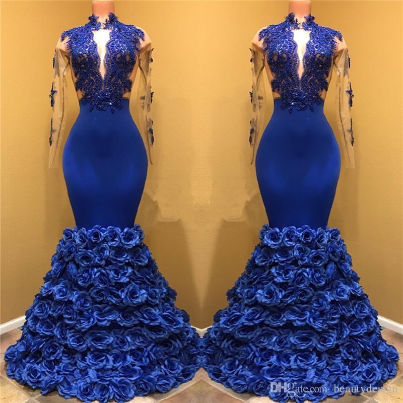 Yeni Varış Kraliyet Mavi Gül Çiçekler Alt Gelinlik 2018 Mermaid Sheer Uzun Kollu Dantel Aplikler Akşam Balo Abiye BA7969