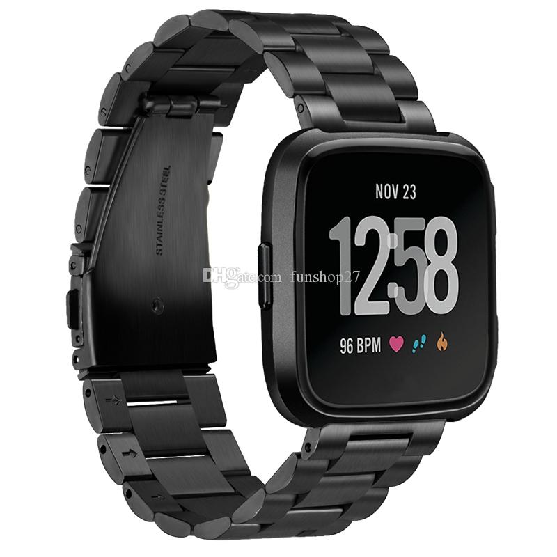 FC0196 Fitbit Versa Uhrenarmbänder aus Metall, Edelstahlarmband Zubehör Ersatzband für Fitbit Versa Smartwatch