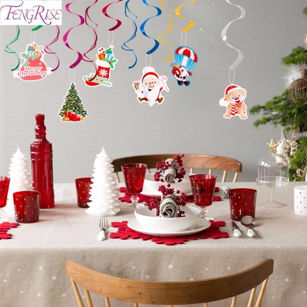 FENGRISE Christmas Hanging Swirls DIY Decorations For Home Pendant Kids Favors Birthday Party Decoration D18110704