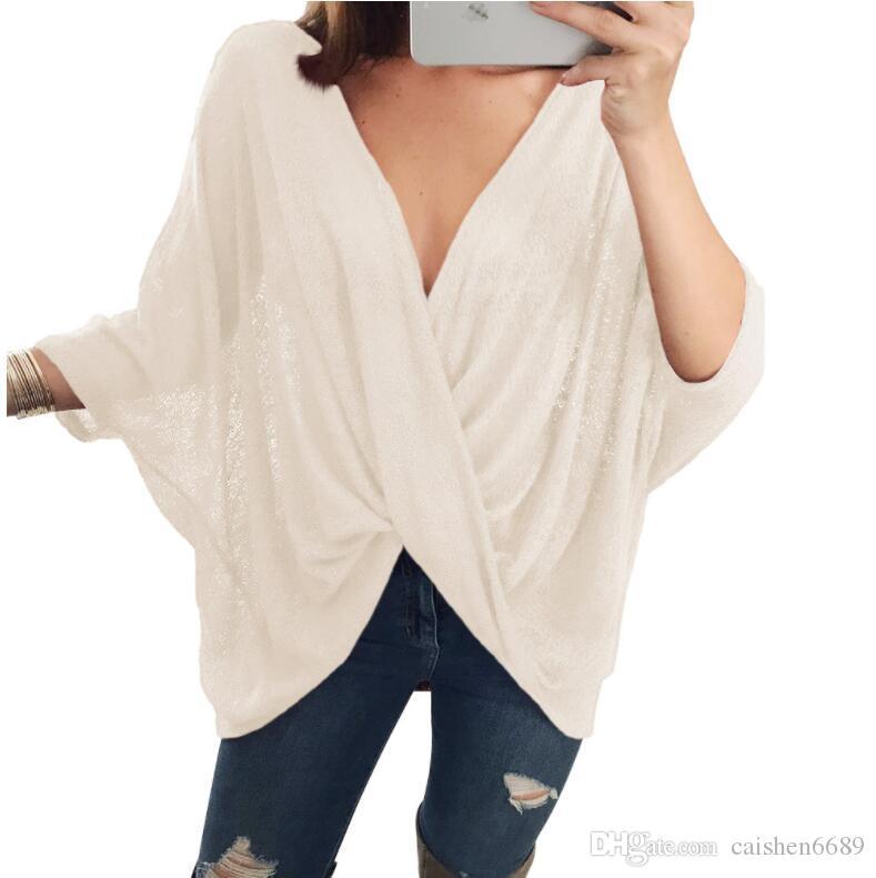 Femmes T-shirt 2018 Printemps Nouvelle Mode Femmes Vêtements Casual T-shirt Solide Couleur Croix Plier V-cou Lâche Bat Manches Courtes Tops Femmes Peasan