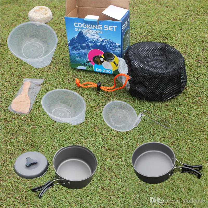 e7596954e08 Camping Cookware Mess Kit Backpacking Gear   Hiking Outdoors Cooking  Equipment Cookset Lightweight Durable Pot Pan Bowls Nylon Bag H226Q Camping  Gear For ...