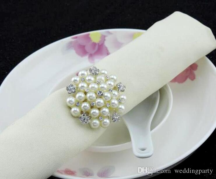 hot sell New flower Imitation pearls gold silver Napkin Rings for wedding dinner,showers,holidays,Table Decoration Accessories